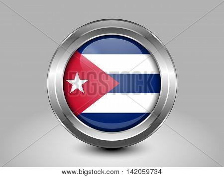 Flag Of Cuba. Metal And Glass Round Icon