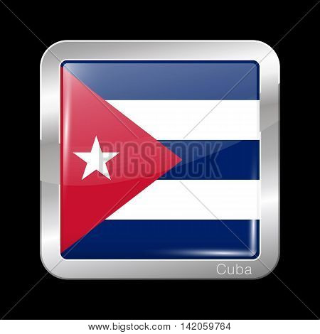 Flag Of Cuba. Metal Icon Square Shape