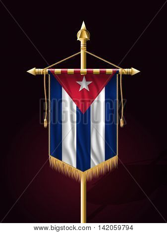 Flag Of Cuba. Festive Banner Vertical Flag With Flagpole