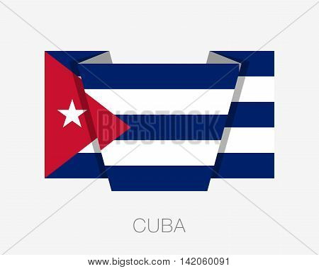 Flag Of Cuba. Flat Icon Wavering Flag With Country Name