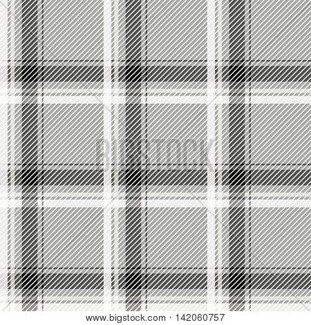 Seamless light tartan pattern fabric. Black and white cells on a gray background. Vector illustration.