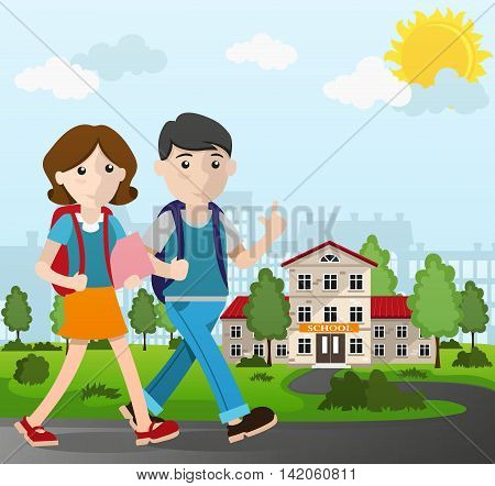 Boy and girl with backpacks going to school. Back to school concept illustration