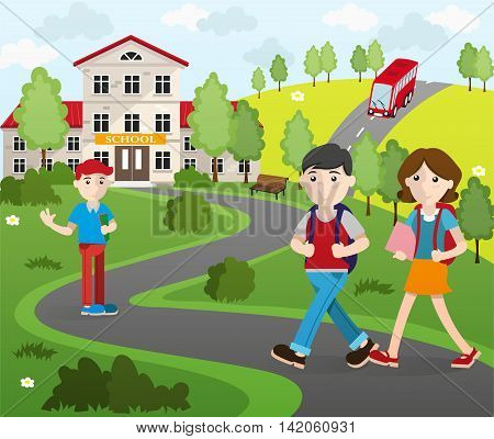 Two boys and a girl with backpacks going to school. Back to school concept illustration.
