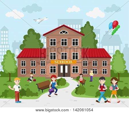 Schoolboys and schoolgirls with backpacks going to school. Back to school concept illustration