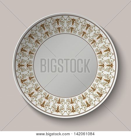 Plate with ornament stylized the ancient Roman pattern. Vector illustration.