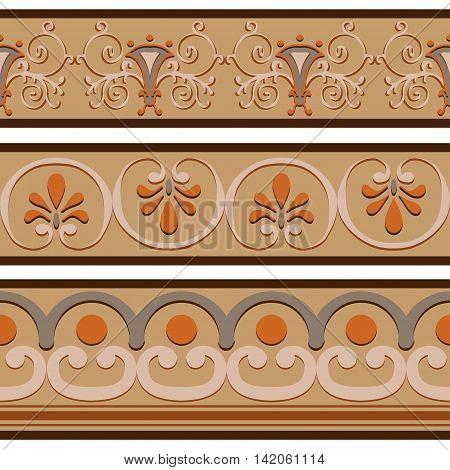 Set of ancient Roman ornaments border patterns. Vector illustration.