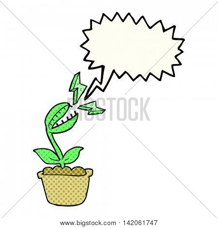 freehand drawn comic book speech bubble cartoon venus fly trap