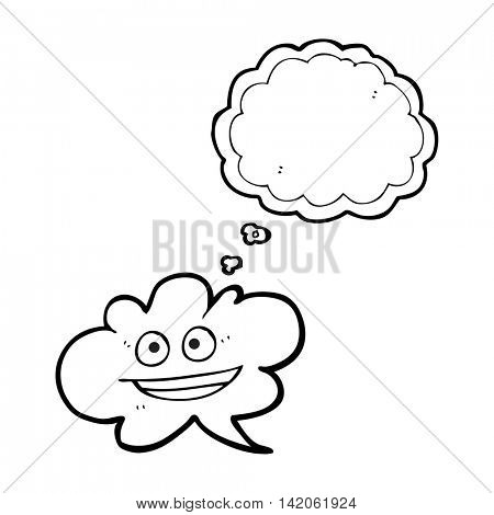 freehand drawn thought bubble cartoon cloud thought bubble with face