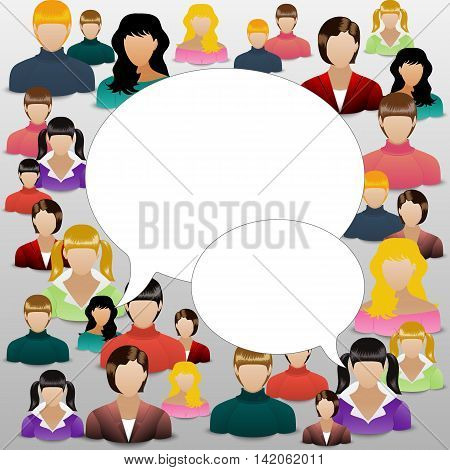 The concept of womens community or forum. Social media background art. Womanhood communicating around the globe with a lot of connections. Vector illustration.
