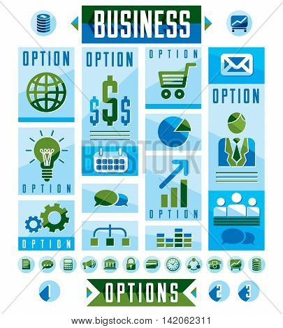 Business Infographics Elements, Set Of Different Design Elements For Visual Presentation Usage, Vect
