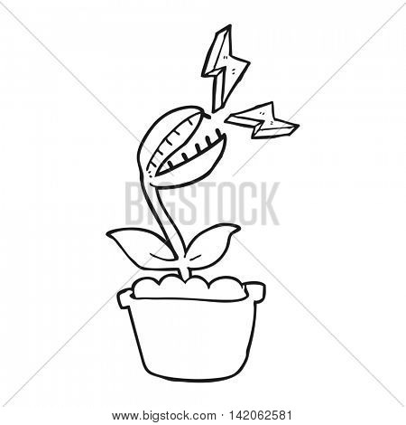 freehand drawn black and white cartoon venus fly trap
