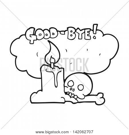 freehand drawn black and white cartoon goodbye sign