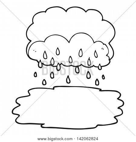 freehand drawn black and white cartoon rain cloud