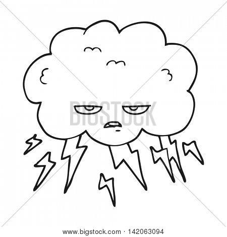 freehand drawn black and white cartoon thundercloud