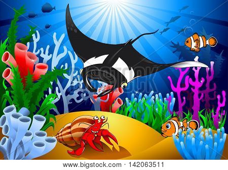 crab and stingray in a beautiful coral reef vector