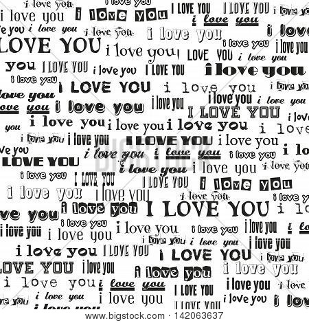 I love you repeatable text abstract vector bakground.