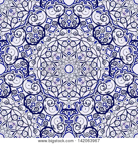 Seamless background of circular patterns. Blue ornament in ethnic style. Vector illustration.