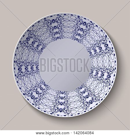 Round blue floral ornament oriental style. Pattern shown on the ceramic platter. Vector illustration.