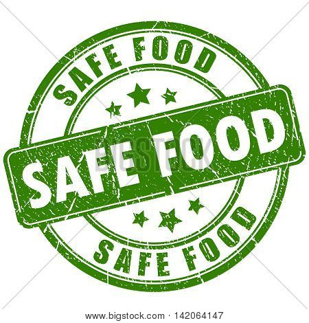 Safe food green rubber stamp illustration isolated on white background
