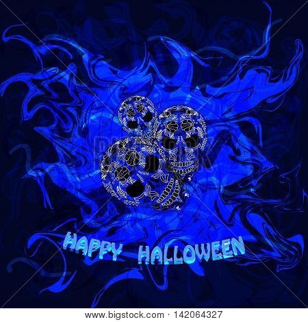 Abstract blue background with skulls and the words Happy Halloween. Vector illustration