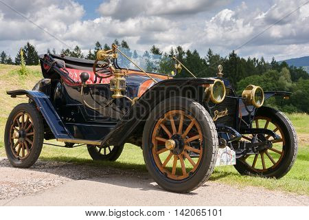 Brada Czech Republic 3. July 2016 - Daytime view on historical vehicles with visitors on traditional exhibition of historical vehicles