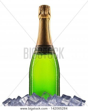 Bottle of champagne or sparkling wine on ice isolated on a white background.