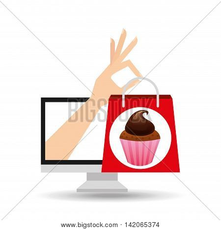 hand holding bag chocolate muffins, fresh bakery products, vector illustration