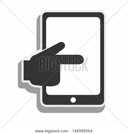 tablet touch hand screen touching finger electronic device vector graphic isolated and flat illustration
