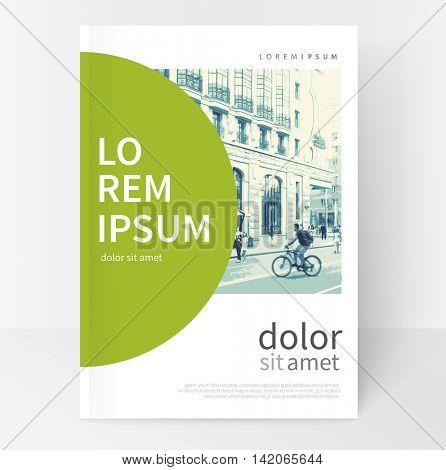 Modern Minimalistic White & green cover Brochure design. Flyer, booklet, annual report cover template.  vector-stock illustration cityscape duotone
