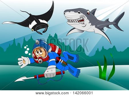 diver pursue sharks and stingray vector and illustration