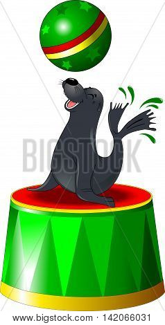 large gray seal performs acrobatics vector and illustrator