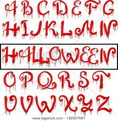 Red Blood text. Halloween horror letters, vector illustration. EPS10