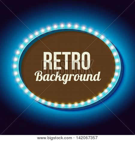 Vintage sign with neon lights. Volumetric 3D oval frame with a background for the text. Blue neon light falls on the black wall. illustration