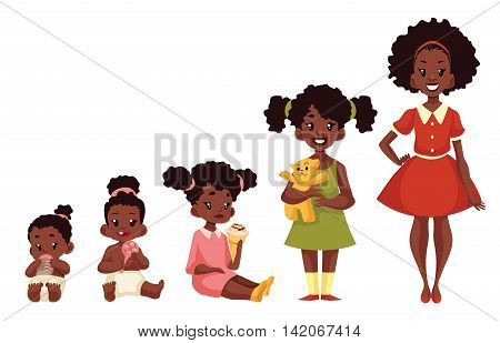 Set of black girls from newborn to infant toddler schoolgirl and teenager cartoon illustration isolated on white background. African child development from birth to school age