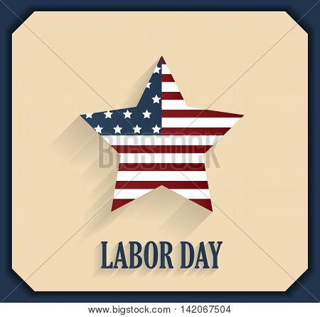 Labor Day poster. Striped star. Vector illustration.
