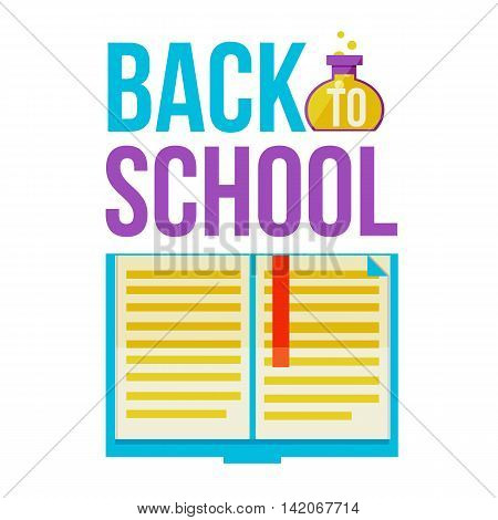 Back to school poster with open book, flat style illustration isolated on white background. Start of school season concept, poster card design with book as a symbol of educational process