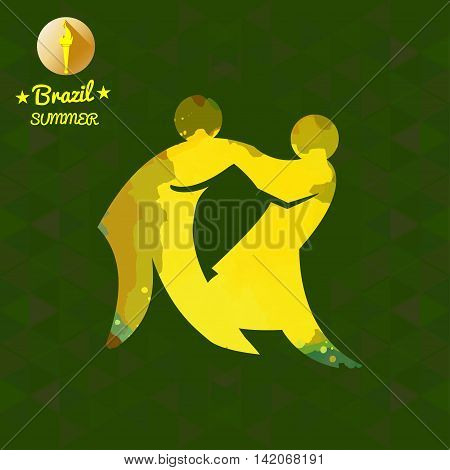 Brazil summer sport card with two abstract yellow wrestlers. Digital vector image