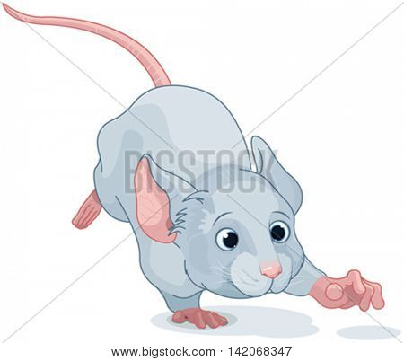 Illustration of cute Wonderland mouse is running