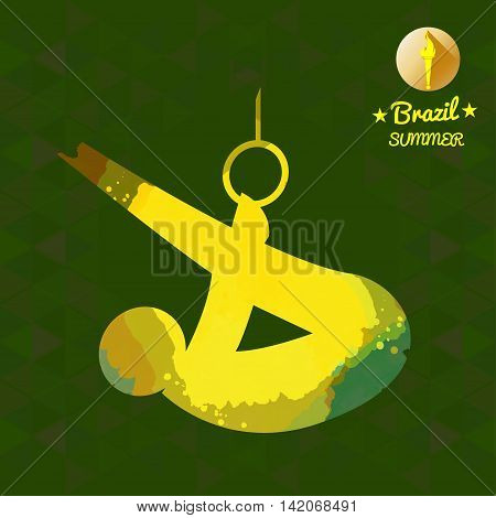 Brazil summer sport card with an yellow abstract sportsman performing gymnastics on rings. Digital vector image