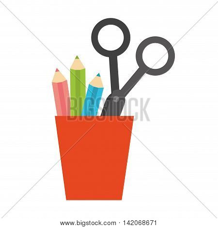 cup holder pencils scissors stationary office supplies furniture desk  vector graphic isolated and flat illustration