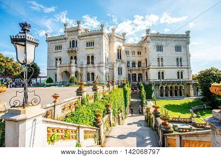 Miramare castle with gardens on the gulf of Trieste on northeastern Italy