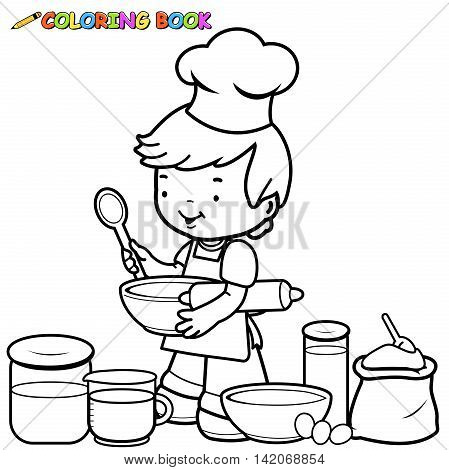Little boy preparing to cook coloring book page