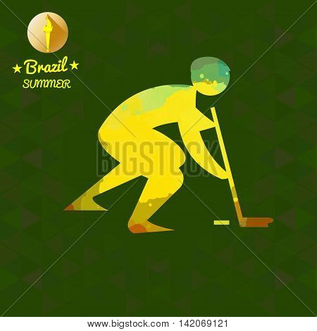 Brazil summer sport card with an yellow abstract hockey player. Digital vector image