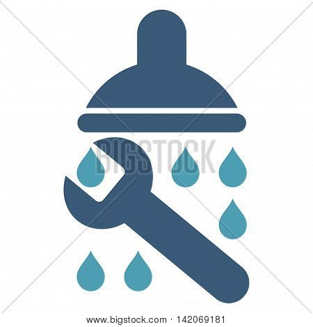 Shower Plumbing vector icon. Shower Plumbing icon symbol. Shower Plumbing icon image. Shower Plumbing icon picture. Shower Plumbing pictogram. Flat cyan and blue shower plumbing icon.