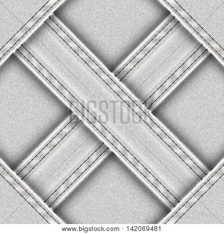Light seamless background with denim sewn cross ribbons. Vector illustration.