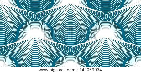 Blue illusive abstract seamless pattern with geometric figures. Vector symmetric simple backdrop.