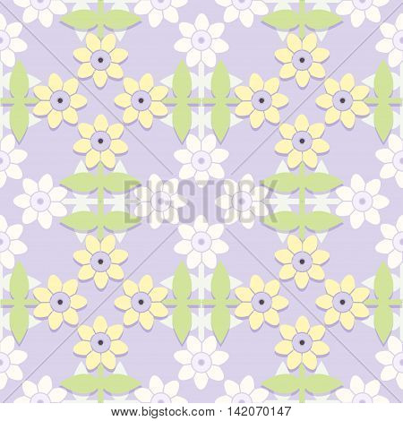 Childrens floral seamless textile pattern. Vector illustration.