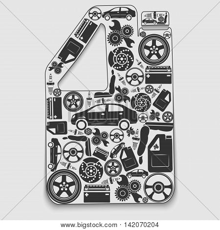 Collection of icons arranged in a canister. The concept of automotive subjects. Vector illustration.
