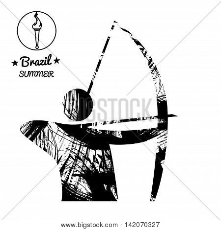 Brazil summer sport card with an abstract archery player in black outlines. Digital vector image
