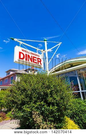 Wellsboro PA - July 26 2016: The Wellsboro Diner is a landmark on Route 6 in the downtown area that features authentic gas street lamps.